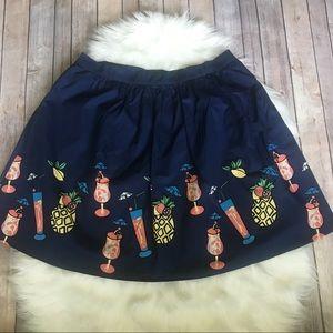 NEW Modcloth blue fruit cocktail skirt A-line